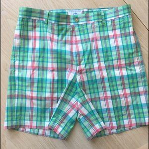 Southern Tide plaid pastel shorts 38